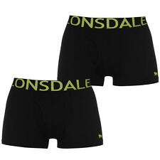 MENS BLACK LIME 2 PACK LONSDALE BOXER TRUNKS UNDERWEAR SIZES S M L XL XXL XXXL