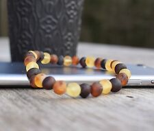 Baltic Amber Bracelet Raw & polished Beads multicolored Natural Elastic Handmade