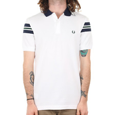 X Fred Perry Bomber Sleeve Pique Polo - White