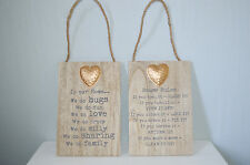 Wooden Hanging Sign House Rules Family Funny Plaque Gold Heart Home Decor Gift
