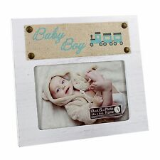 "Personalised New View Baby Boy 4"" x 6"" Frame - White frame, Burlap Accent NV460"
