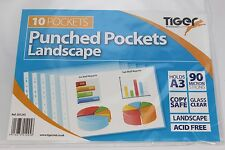 10 A3 TIGER MULTI-PUNCHED LANDSCAPE POCKETS. POLYPROP, 90 MICRON & GLASS CLEAR.