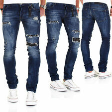 Redbridge by Cipo & Baxx Jeans Herren Hose Slim Fit Denim Pants Blau Destroyed
