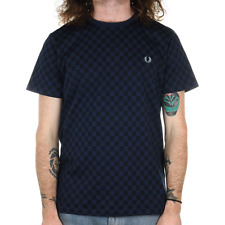 Fred Perry Chequerboard Print T Shirt - French Navy