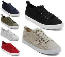LADIES FLAT LACE UP SPORTS SHOES WOMENS CROCHET CASUAL TRAINER PUMPS SNEAKERS