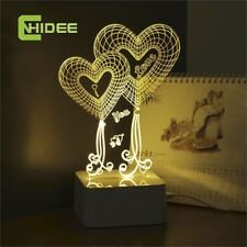 USB Lampara Led Lights Love Heart 3d Touch Table Lamp for Wedding Decoration Fai