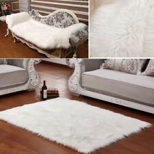 Long Faux Fur Artificial Skin Rectangle Fluffy Chair Seat Sofa Cover Carpet Mat