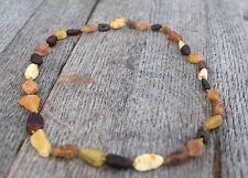 AMBER NECKLACE BALTIC Genuine Natural Unpolished Multicolored Beads 18/20 inches