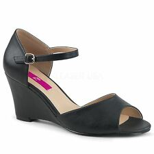 Pleaser Pink Label KIMBERLY-05 Ankle Strap Wedge Sandal Black Faux Leather