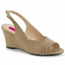 Pleaser Pink Label KIMBERLY-01SP Slingback Wedge Sandal Taupe Faux Leather
