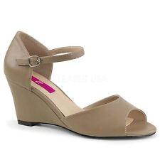 Pleaser Pink Label KIMBERLY-05 Ankle Strap Wedge Sandal Taupe Faux Leather