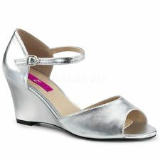 Pleaser Pink Label KIMBERLY-05 Ankle Strap Wedge Sandal Silver Metallic Pu