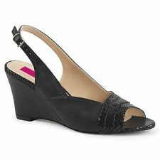 Pleaser Pink Label KIMBERLY-01SP Slingback Wedge Sandal Black Faux Leather