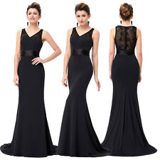 Mermaid Black Lace Evening Long Party Bridesmaids Dress Formal Prom Ball Gowns