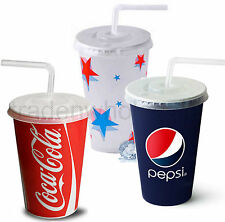 Coca Cola, Pepsi, Starball Paper Cups, With Lids, Cold Drinks Cup Party Catering