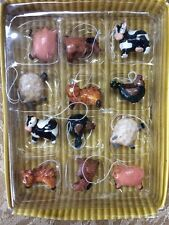 Dollhouse/ Christmas Tree Miniature Set of 12 Farm Animal Ornaments