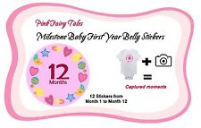 Milestone Baby Monthly Girl Belly Stickers and Bodysuits - Fairy Tales - Pink