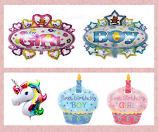 Baby Shower Foil Balloons Air Baby Boy Girl Party Cupcake Crown Birthday Balloon