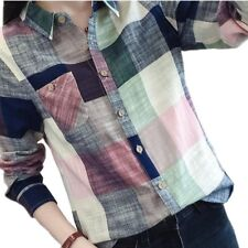 2016 Hot Sale Ladies Female Casual Cotton Long Sleeve Plaid Shirt Women Slim Out