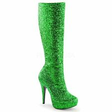 Funtasma by Pleaser LOLITA-300G Platform Knee High Boot Side Zip Green Glitter