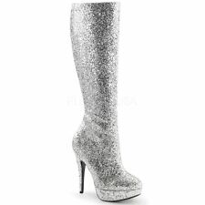 Funtasma by Pleaser LOLITA-300G Platform Knee High Boot Side Zip Silver Glitter