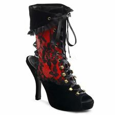 Funtasma PIRATE-110 Platform Pirate Lace Up Ankle Bootie Black Velvet-Red Patent