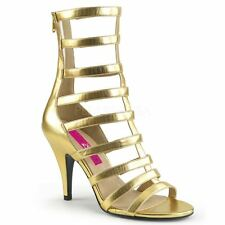 Pleaser Pink Label DREAM-438 Ankle Boot Women's Gold Metallic Pu