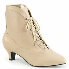 Pleaser Pink Label FAB-1005 Ankle Boot Women's Cream Faux Leather