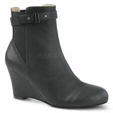 Pleaser Pink Label KIMBERLY-102 Ankle Boot Women's Black Faux Leather