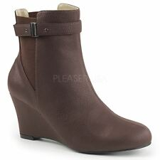 Pleaser Pink Label KIMBERLY-102 Ankle Boot Women's Brown Faux Leather