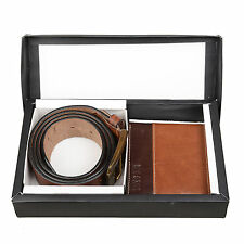 Hide & Sleek Genuine Leather Combo of Brown Men's' Belt & Wallet