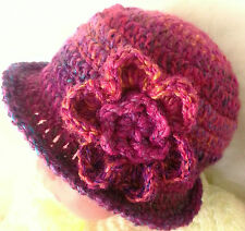 CROCHETED SUN HAT 1-10 YEARS knit flower kid infant childs toddler vintage ali33