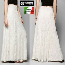 Gonna Lunga Estiva Pizzo Donna Bianca o Crema - Woman Maxi Lace Skirt 130034