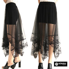 Mini Gonna Donna Tulle Lungo Trasparente e Pizzo - Woman Tulle Lace Skirt 130038
