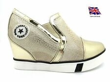 Womens,Ladies Shoes Wedge High Top Boots Sneakers Trainers Slip On GOLD NEW*