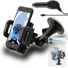 Heavy Duty Rotating Car Holder with Micro USB Charger for Motorola WX445 Citrus