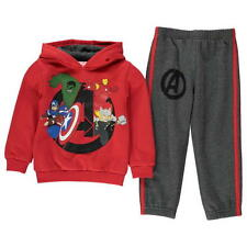 BOYS CHILDRENS 2 PIECE CHARACTER RED MARVEL AVENGERS HOODED HOODIE BOTTOMS