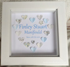 """New Born Baby Personalised Paper Heart Print - Baby Girl or Boy Gift 5x5"""" frame"""