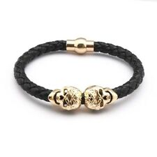 2016 Hot Selling Fashion Braided Leather Bracelets Gold Plated Skull Bracelet Pu