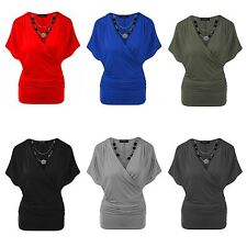 Womens Ladies New Plain Wrap Over V Neck Batwing Top Stretchy Necklace Loose Top