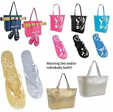 Womens Ladies Summer Beach Bag Tote Flip Flops / Mat FLORAL METALLIC UK