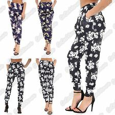 New Ladies Full Length Floral Printed Elasticated Waist Trouser Summer Pants