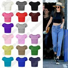 New Ladies Round Neck Plain Short Sleeve Celebrity Vest Tee TShirt Mini Crop Top