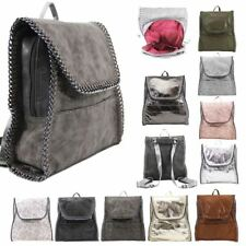 NEW LADIES CHAIN TRIM FAUX LEATHER CONVERTIBLE BACKPACK SHOULDER BAG RUCKSACK