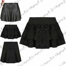 Womens Ladies Plain High Waisted A-Line Pleated Faux Leather Skater Mini Skirts