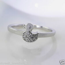 Sterling 925 Pure Silver Beautiful Duck Design Diamond Ring For Girls/Womans