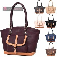 WOMENS LADIES NEW FAUX LEATHER FRONT POCKET SHOPPER SHOULDER TOTE BAG