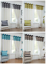 Cambridge Eyelet/Ring Top Stripe Border Lined Curtain Pairs By Hamilton