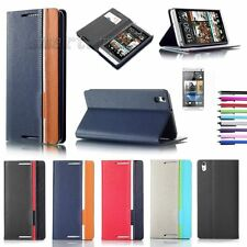 Magnetic Flip Cover Wallet Pouch Hard Stand Case PU Leather for HTC Desire