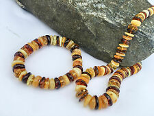 Amber Necklace & Bracelet set Multicolored Adult Genuine Baltic beads 20 inches